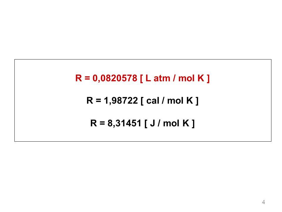 R = 0,0820578 [ L atm / mol K ] R = 1,98722 [ cal / mol K ]